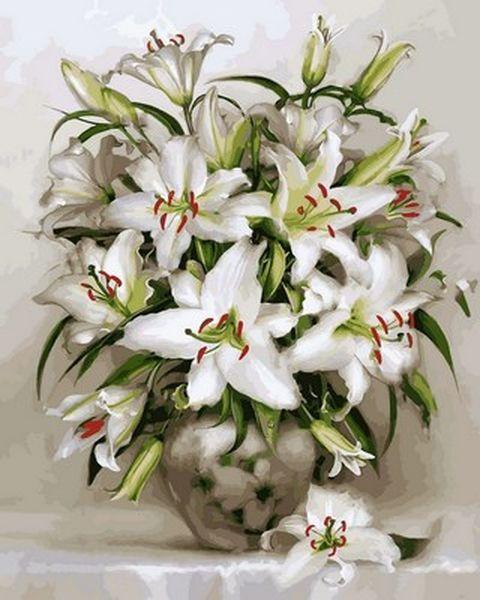 Раскраски для взрослых 40×50 см. Белоснежные лилии