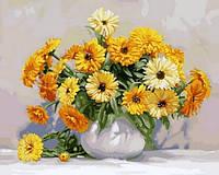 Раскраски для взрослых 40×50 см. Желтые герберы