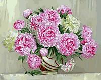 Картины по номерам 40×50 см. Розовые пионы