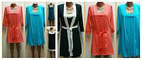 Комплект домашний женский Кэтти, халат и ночная рубашка, хлопок, р.р.42-56