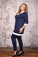 Костюм Форест темно-синий туника и лосины французский трикотаж большого размера 48-94 батал