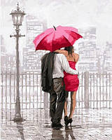 Раскраски по номерам 40×50 см. Влюбленные под красным зонтом