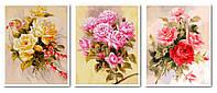 Раскраски для взрослых 50х120 см. Триптих Нежные розы