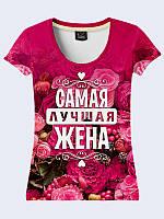 """Женская футболка с надписью """"Самая Лучшая Жена"""" с красочным 3D-рисунком XL"""