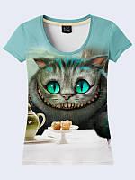 Милая женская 3D-футболка с рисунком Чеширский кот на чаепитии  XS