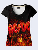 Стильная женская футболка Знаменитая группа AC/DC с классным принтом XS