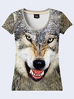 Классная женская футболка Волк с потрясающим фотопринтом XS