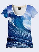 Великолепная женская 3Д футболка Безграничный океан с красочным фотопринтом XS