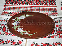Тарелка с рисунком  из красной глины 25см