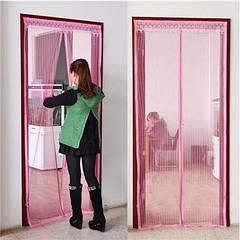Дверная антимоскитная сетка на магнитах бордовая