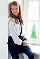 Шифоновая блузка со стразами Sly 142/S/17 цвет белый с синим
