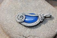 Кулон ручной работы с камнем синий нефрит., фото 1