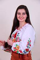 Женская вышитая блуза гладью на белом батисте 46