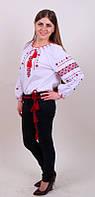 Женская вышитая блуза красным орнаментом