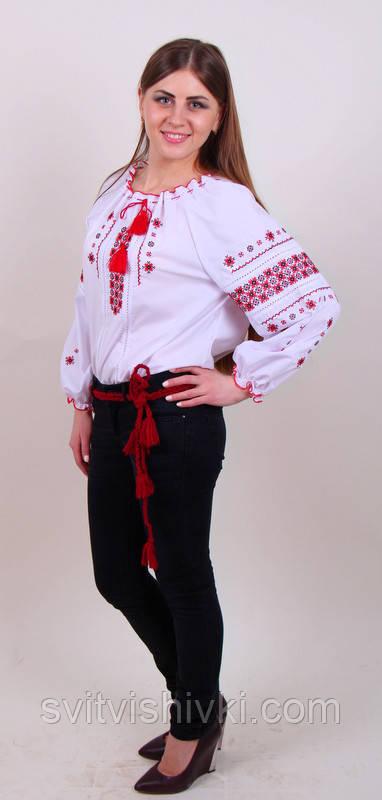 Жіноча вишита блуза червоним орнаментом