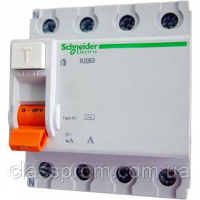 Диференціальний вимикач ВД63(УЗО) 4П 63A 30МА