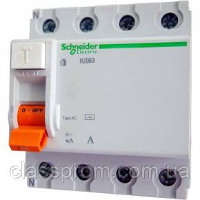 Дифференциальный выключатель (УЗО) 4П 63A 30МA