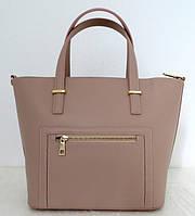 Вместительная женская сумка 100% натуральная кожа. Бежевый, фото 1