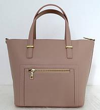 Вместительная женская сумка 100% натуральная кожа. Бежевый