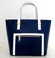 Вместительная женская сумка 100% натуральная кожа. Синий, фото 1