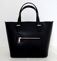 Вместительная женская сумка 100% натуральная кожа. Черный
