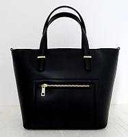 Вместительная женская сумка 100% натуральная кожа. Черный, фото 1
