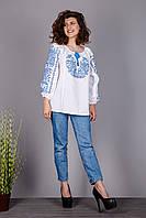 Женская вышиванка на домотканом полотне с красным узором 44, Синий