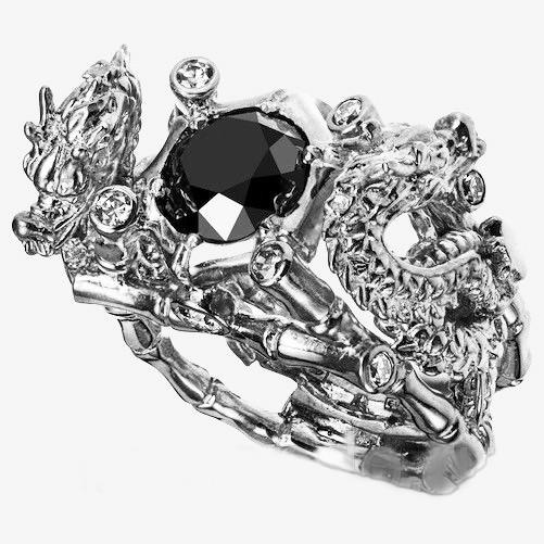 Перстень мужской серебряный Китайские Драконы КЦ-69 Б