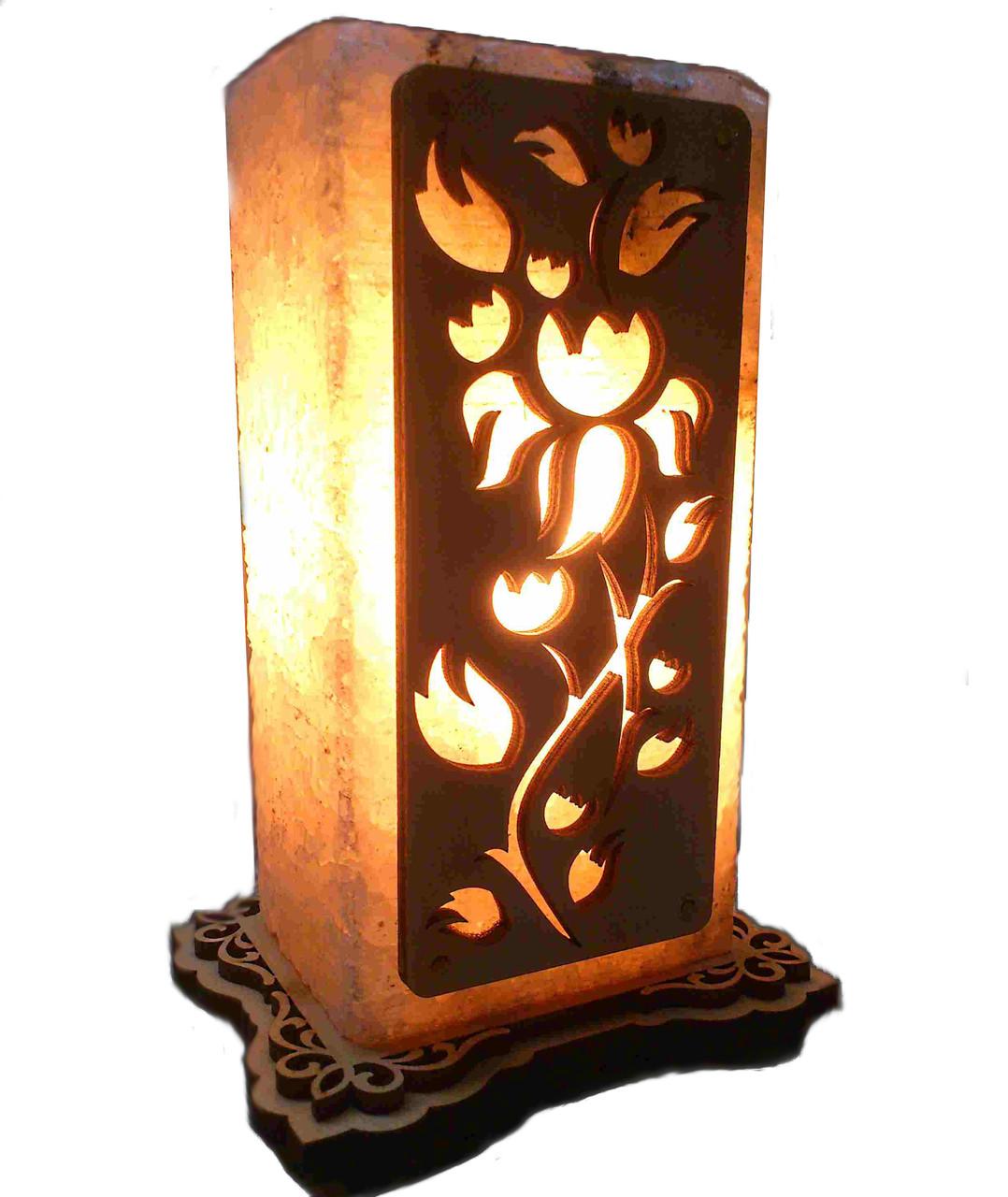 Соляной светильник Прямоугольник с узором Роза
