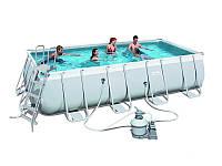 Прямоугольный каркасный бассейн Power Steel Rectangular Bestway 56466 BWK
