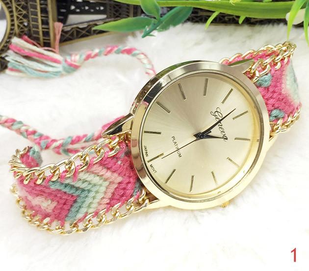 Женские часы Geneva с оригинальным ремешком из ниток Тканевый, Метки (без цифр), кварцевый, Женский, Geneva, 1