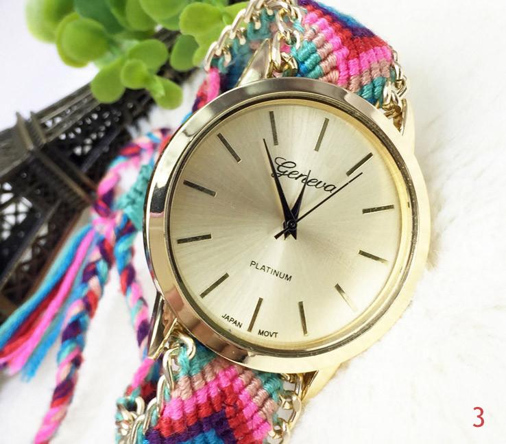 Женские часы Geneva с оригинальным ремешком из ниток Тканевый, Метки (без цифр), кварцевый, Женский, Geneva, 3