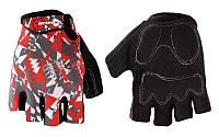 Перчатки спортивные SCOYCO ВG14-BKR (PL, PVC, лайкра, открытые пальцы, р-р M-XXL, черный-красный)