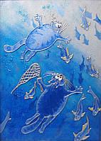 """Картина на стекле """"водолавающие коты"""""""