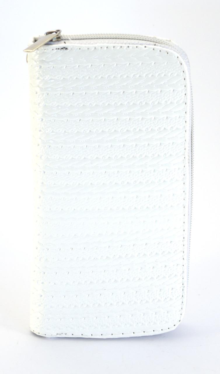 Белый горизонтальный женский кошелек-клатч на молнии Б/Н art. 01