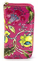 Яркий горизонтальный женский клатч-кошелек с цветочным принтом на молнии Б/Н art. 01