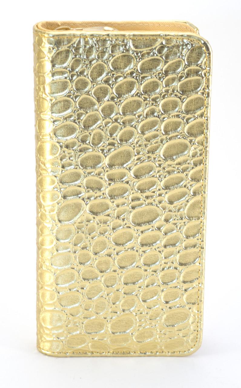 Стильный золотистый горизонтальный женский кошелек-клатч на молнии FUERDANNI art. 680