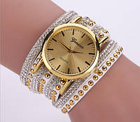 Женские часы Geneva с широким ремешком с камешками Метки (без цифр), кварцевый, Женский, белый