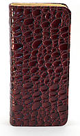 Бордовый горизонтальный женский кошелек-клатч под крокодиловую кожу на молнии FUERDANNI art. 680