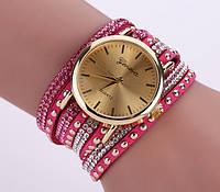 Женские часы Geneva с широким ремешком с камешками Метки (без цифр), кварцевый, Женский, розовый