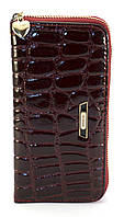 Бордовый лаковый горизонтальный женский кошелек-клатч под крокодиловую кожу на молнииFUERDANNI art. 9001, фото 1