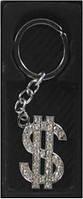 Брелок для ключей №19-1 метал. $ со стразами в кор. уп12