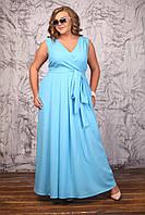 Длинное шифоновое платье сарафан Бовари голубое большого размера 48-72 батал