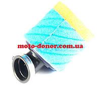 """Фильтр воздушный (нулевик, поролон)   Ø35mm, 45*   """"AS""""   (mod:1, сине-оранжевый)"""