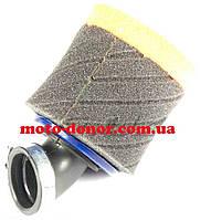 """Фильтр воздушный (нулевик, поролон)   Ø35mm, 45*   """"AS""""   (mod:1, черно-оранжевый)"""
