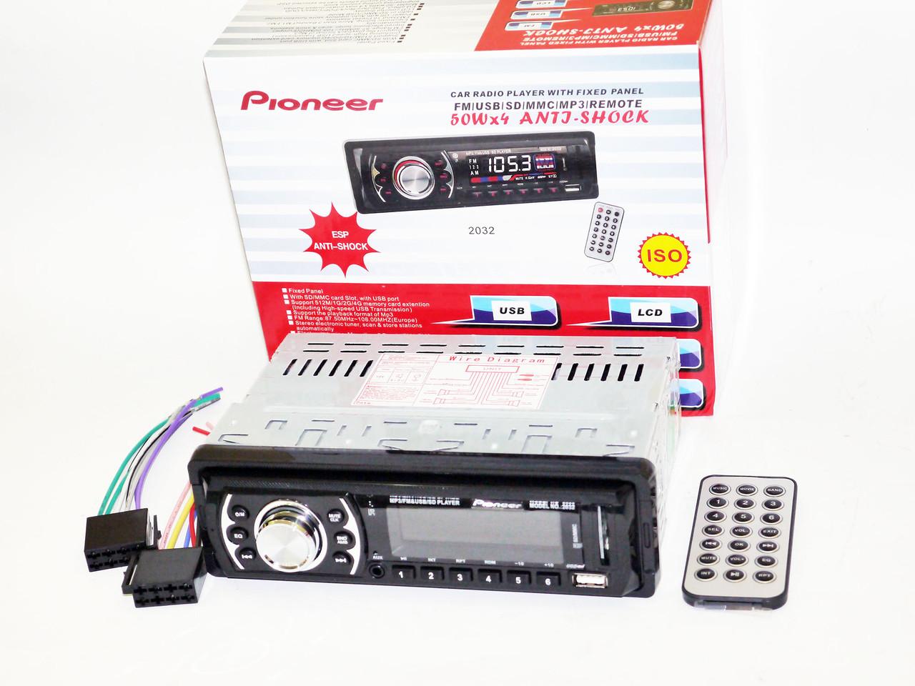 Автомагнитола Pioneer 2032 Usb+Sd+Fm+Aux+ пульт (4x50W)