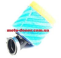 """Фильтр воздушный (нулевик, поролон)   Ø35mm, 45*   """"AS""""   (mod:3, сине-оранжевый)"""