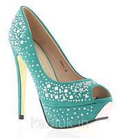 Стильные и удобные женские туфли, лодочки  со стразами синие