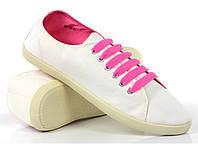 Мега удобные Женская спортивная обувь, кеды, конверсы, высокие, классические и низкие  белого цвета с розовыми шнурками! Очень легкие!