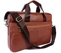 Кожаная мужская сумка с отделением для ноутбука